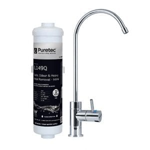 Puretec Inline Undersink Water Filter System with High Loop LED Faucet, 1 Micron