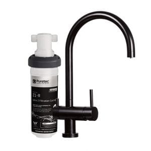 Puretec Quick Twist Undersink Filter System using Ultra Z Filtration Technology with Tripla Black Mixer Tap